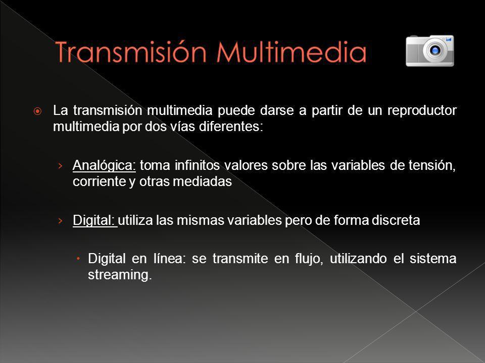 La transmisión multimedia puede darse a partir de un reproductor multimedia por dos vías diferentes: Analógica: toma infinitos valores sobre las variables de tensión, corriente y otras mediadas Digital: utiliza las mismas variables pero de forma discreta Digital en línea: se transmite en flujo, utilizando el sistema streaming.