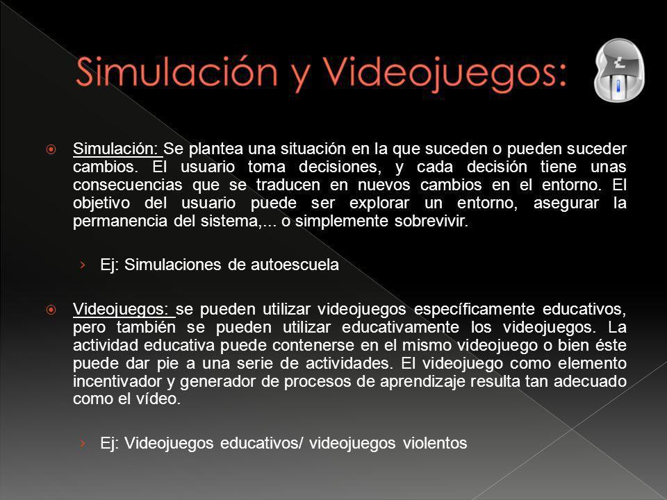 Simulación: Se plantea una situación en la que suceden o pueden suceder cambios.