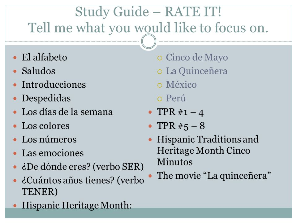 Study Guide – RATE IT.Tell me what you would like to focus on.