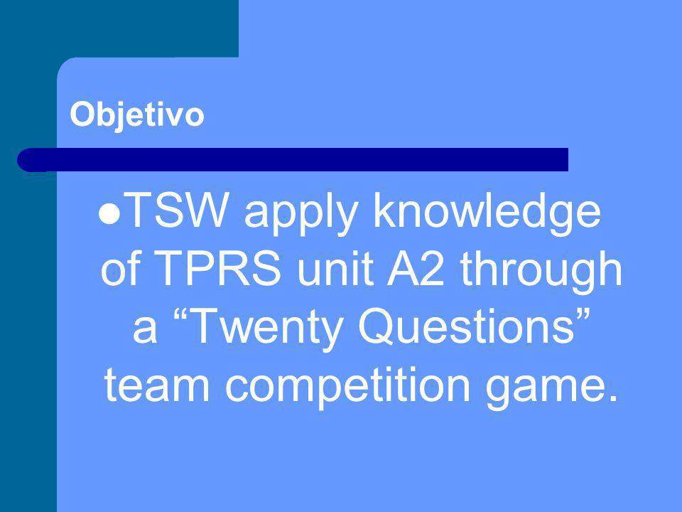 Objetivo TSW apply knowledge of TPRS unit A2 through a Twenty Questions team competition game.