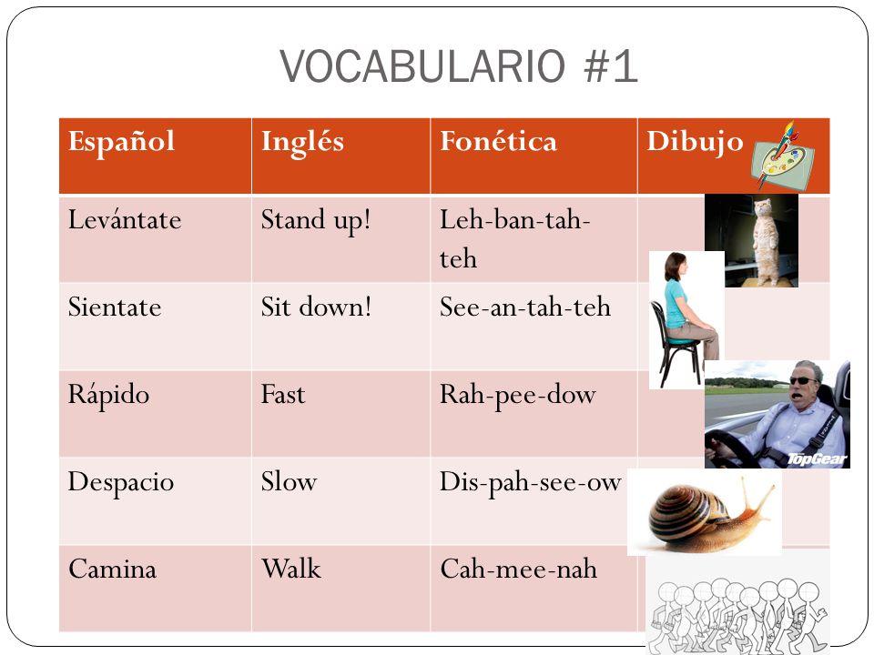 VOCABULARIO #1 EspañolInglésFonéticaDibujo LevántateStand up!Leh-ban-tah- teh SientateSit down!See-an-tah-teh RápidoFastRah-pee-dow DespacioSlowDis-pah-see-ow CaminaWalkCah-mee-nah