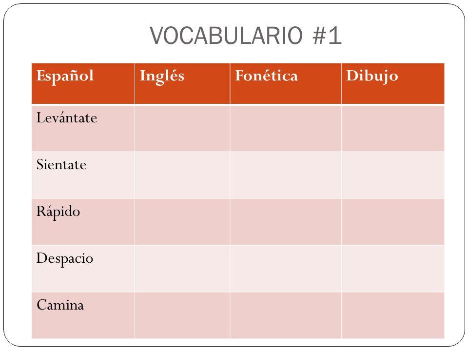 VOCABULARIO #1 EspañolInglésFonéticaDibujo Levántate Sientate Rápido Despacio Camina