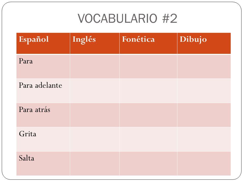 VOCABULARIO #2 EspañolInglésFonéticaDibujo Para Para adelante Para atrás Grita Salta
