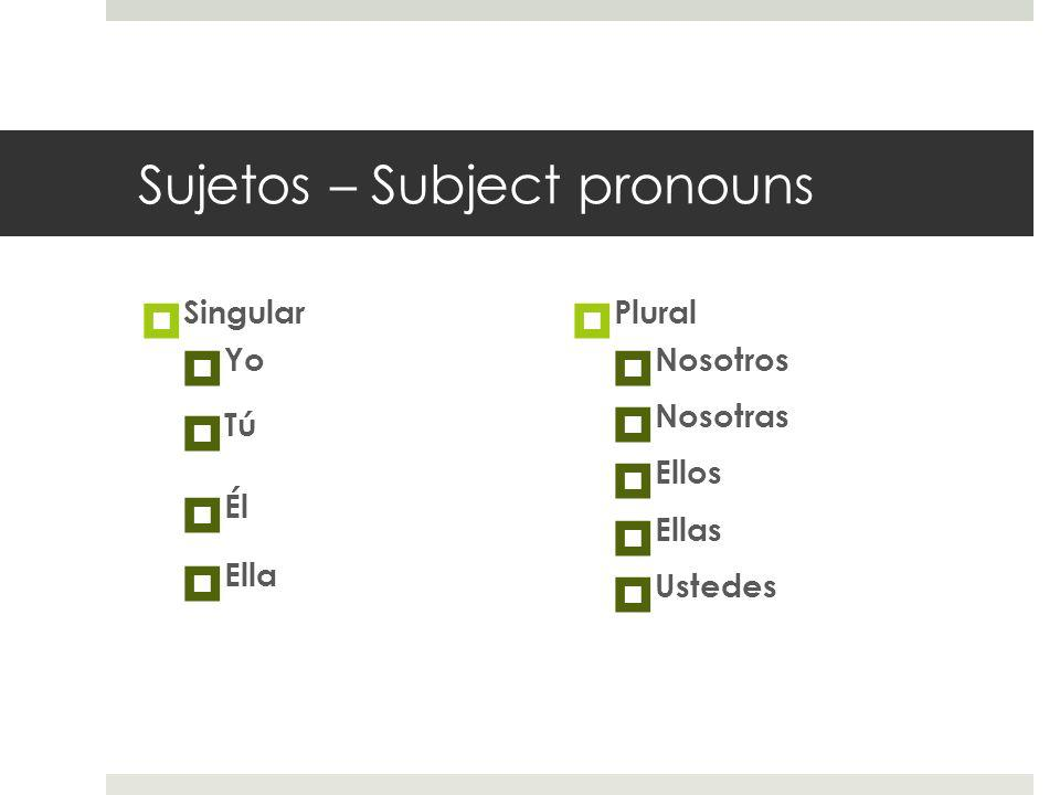 Sujetos – Subject pronouns Singular Yo Tú Él Ella Plural Nosotros Nosotras Ellos Ellas Ustedes