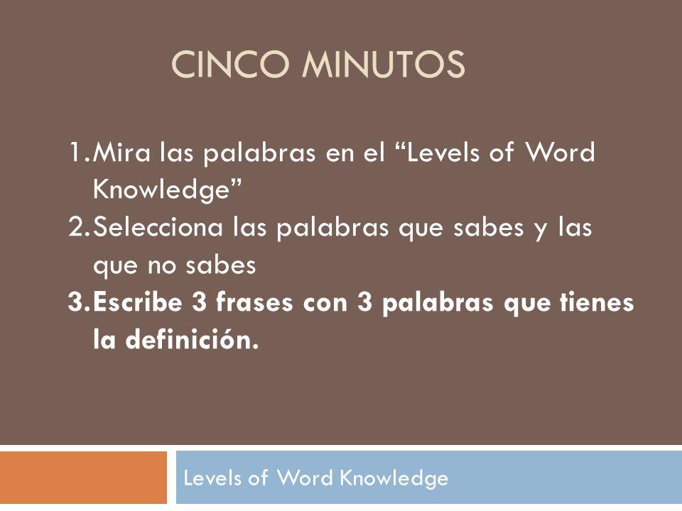 CINCO MINUTOS 1.Mira las palabras en el Levels of Word Knowledge 2.Selecciona las palabras que sabes y las que no sabes 3.Escribe 3 frases con 3 palabras que tienes la definición.
