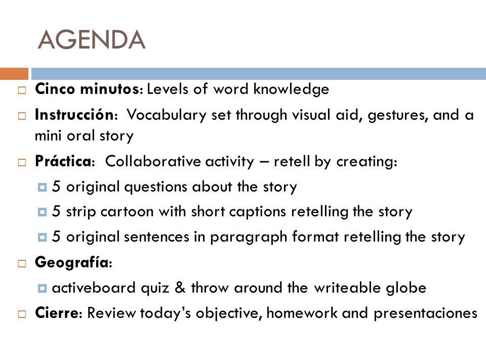 ESTRATEGIA LITERARIA LEVELS OF WORD KNOWLEDGE