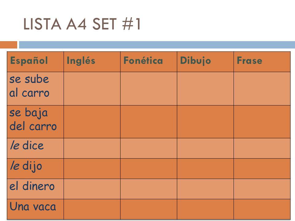 LISTA A4 SET #1