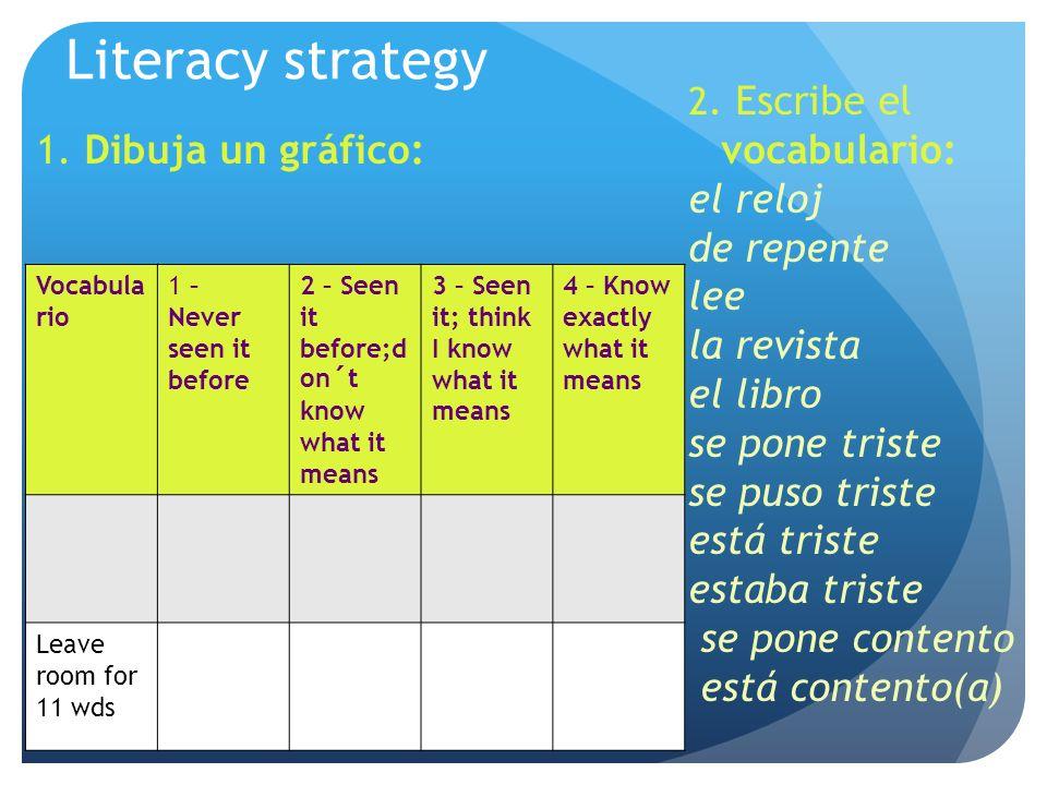 Literacy strategy 1. Dibuja un gráfico: 2.