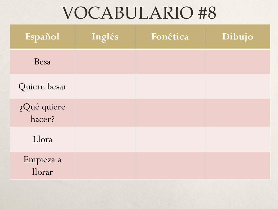 VOCABULARIO #8 EspañolInglésFonéticaDibujo Besa Quiere besar ¿Qué quiere hacer.