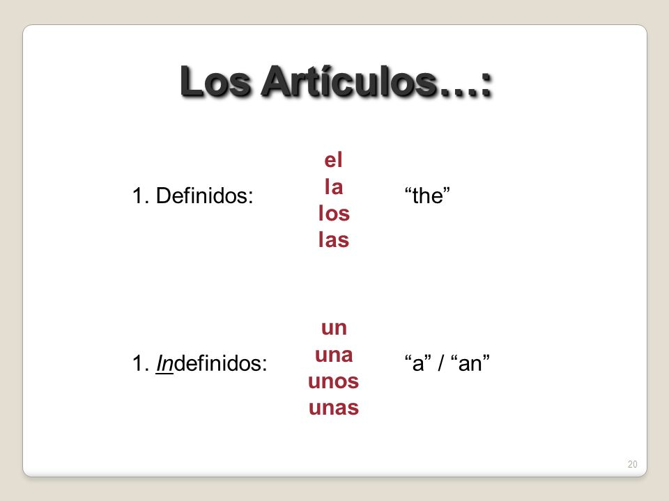 19 Los Sustantivos Plurales: el los la las When referring to males and females as a single group, or to masculine and femenine objects together, always use the masculine plural: When referring to males and females as a single group, or to masculine and femenine objects together, always use the masculine plural: the boys the boys and girls #3#3 los chicos the boy students the boy and girl students los estudiantes