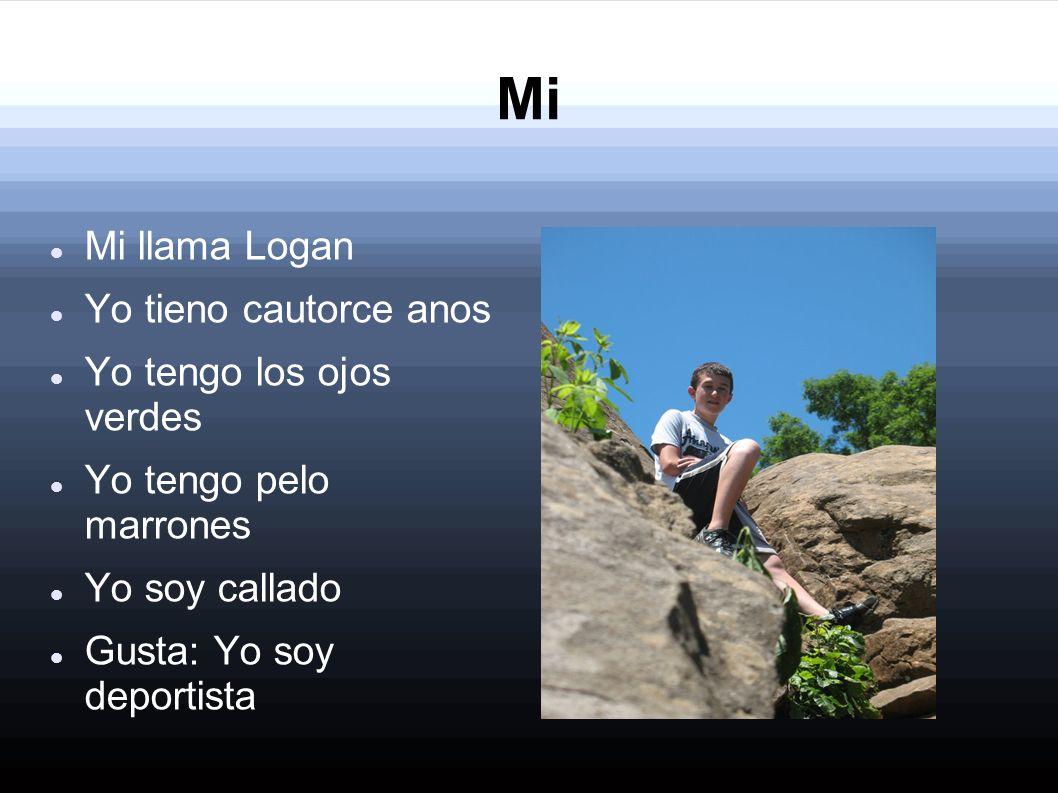 Mi Mi llama Logan Yo tieno cautorce anos Yo tengo los ojos verdes Yo tengo pelo marrones Yo soy callado Gusta: Yo soy deportista