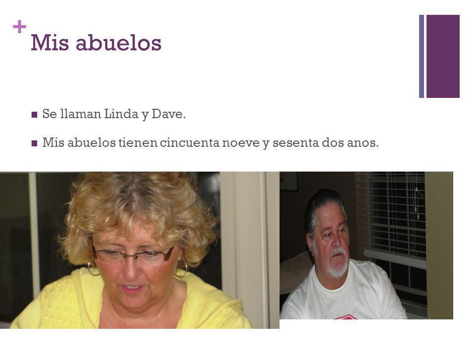+ Mis abuelos Se llaman Linda y Dave. Mis abuelos tienen cincuenta noeve y sesenta dos anos.