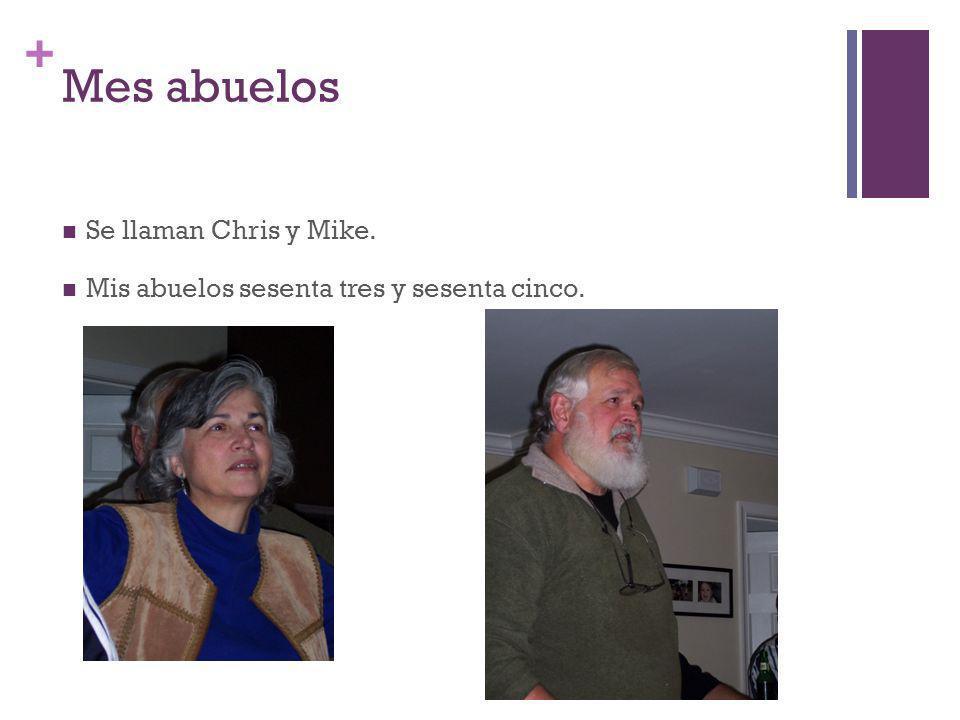 + Mes abuelos Se llaman Chris y Mike. Mis abuelos sesenta tres y sesenta cinco.