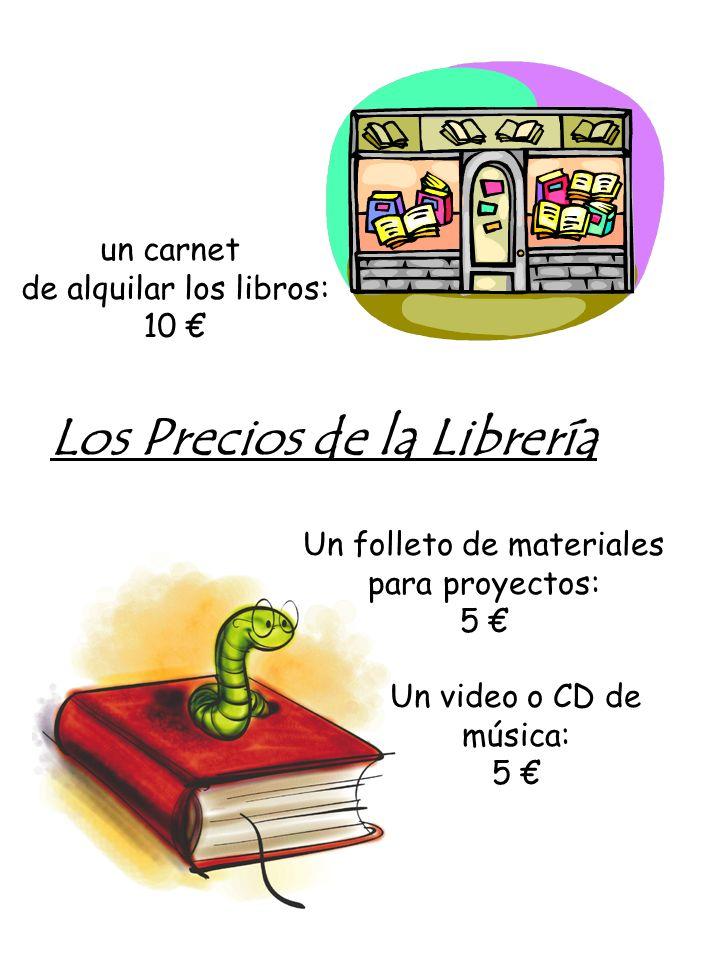 Vocabulario útil de la Librería un carnet : a card los materiales: materials alquilar: to rent un video: a video cassette un folleto: a folder or pamphlet un CD: a music CD