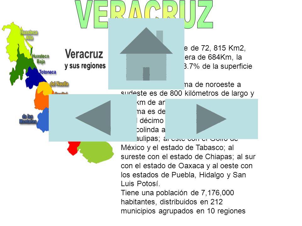 Tiene una superficie de 72, 815 Km2, con una franja costera de 684Km, la cual representa el 3.7% de la superficie total de México. Su extensión máxima