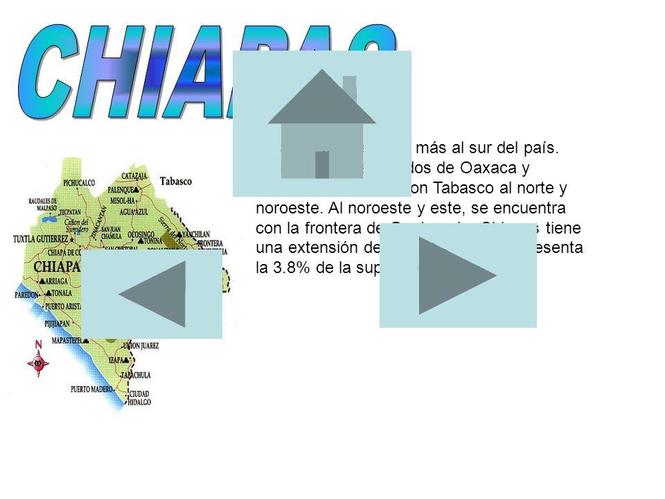 Chiapas es el estado más al sur del país. Colinda con los estados de Oaxaca y Veracruz al oeste y con Tabasco al norte y noroeste. Al noroeste y este,