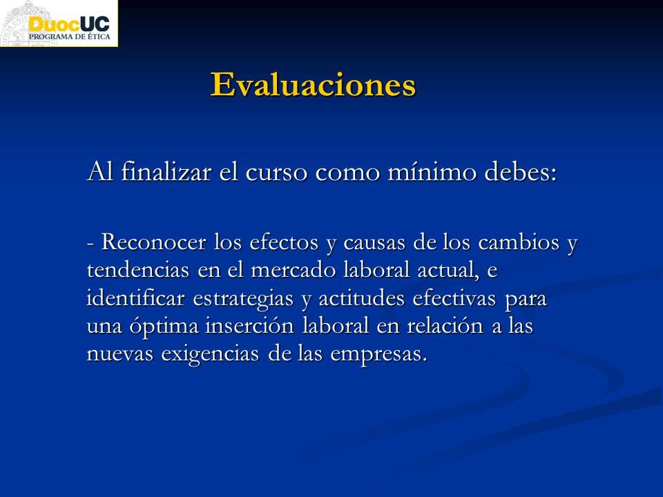 Evaluaciones Al finalizar el curso como mínimo debes: - Reconocer los efectos y causas de los cambios y tendencias en el mercado laboral actual, e ide