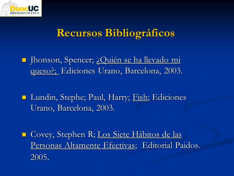 Recursos Bibliográficos Jhonson, Spencer; ¿Quién se ha llevado mi queso?; Ediciones Urano, Barcelona, 2003. Jhonson, Spencer; ¿Quién se ha llevado mi