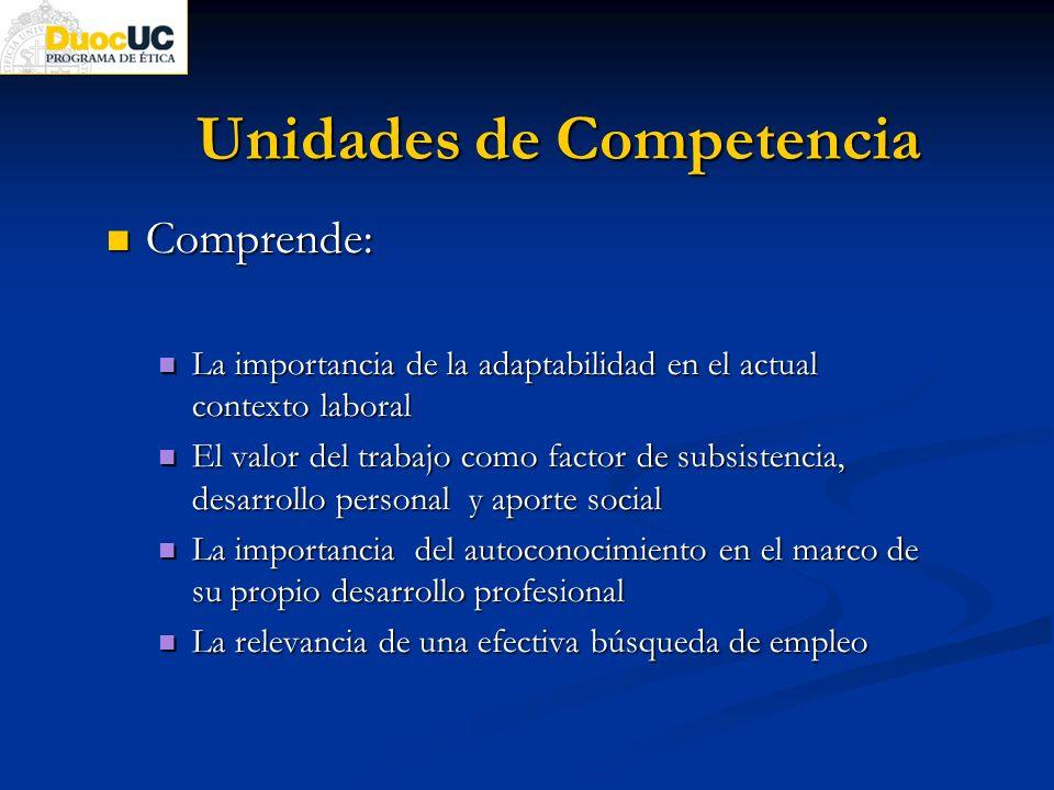 Unidades de Competencia Comprende: Comprende: La importancia de la adaptabilidad en el actual contexto laboral La importancia de la adaptabilidad en e