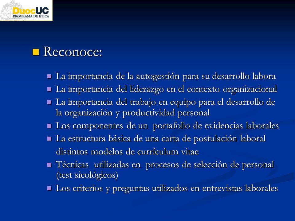 Reconoce: Reconoce: La importancia de la autogestión para su desarrollo labora La importancia de la autogestión para su desarrollo labora La importanc