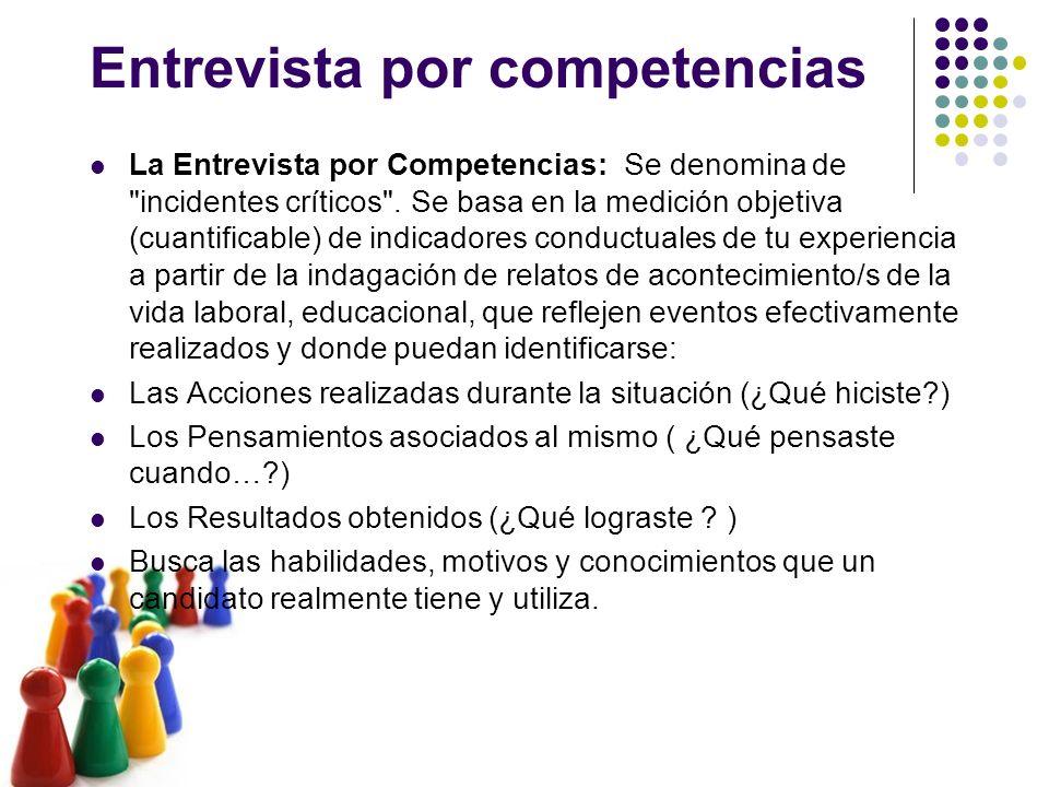 Entrevista por competencias La Entrevista por Competencias: Se denomina de