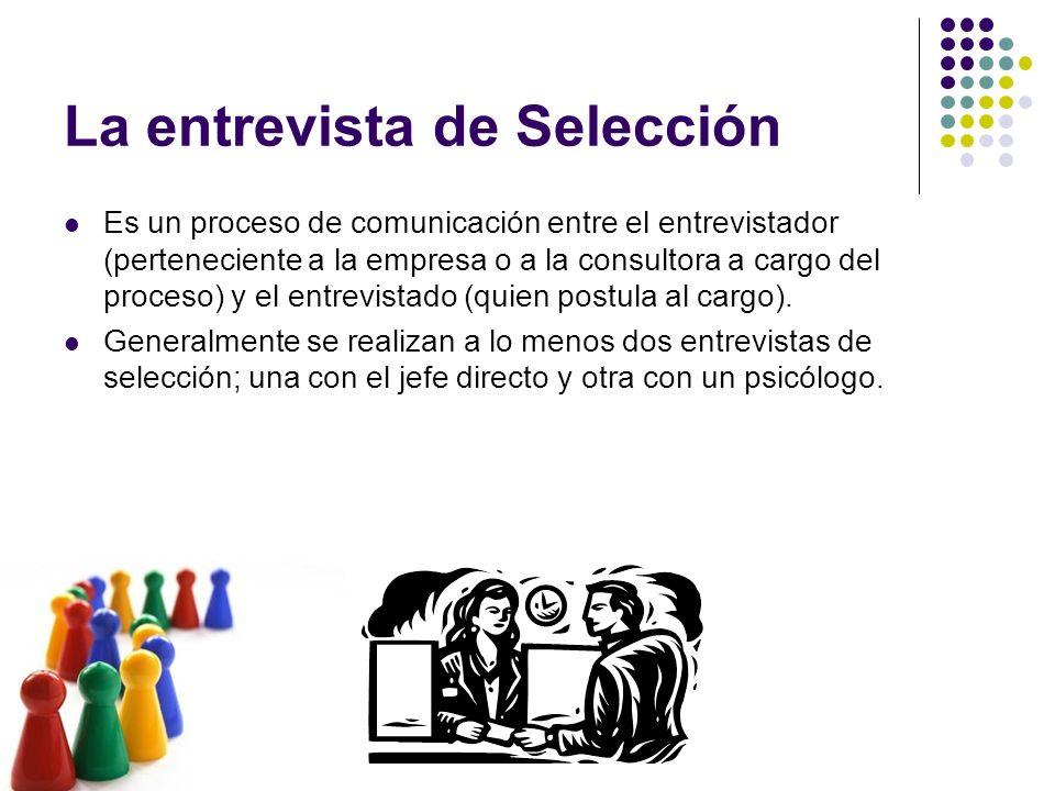 La entrevista de Selección Es un proceso de comunicación entre el entrevistador (perteneciente a la empresa o a la consultora a cargo del proceso) y e