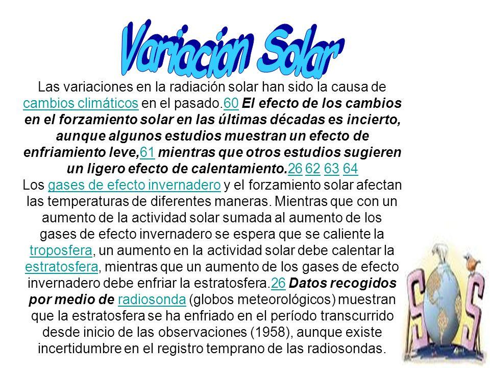Las variaciones en la radiación solar han sido la causa de cambios climáticos en el pasado.60 El efecto de los cambios en el forzamiento solar en las