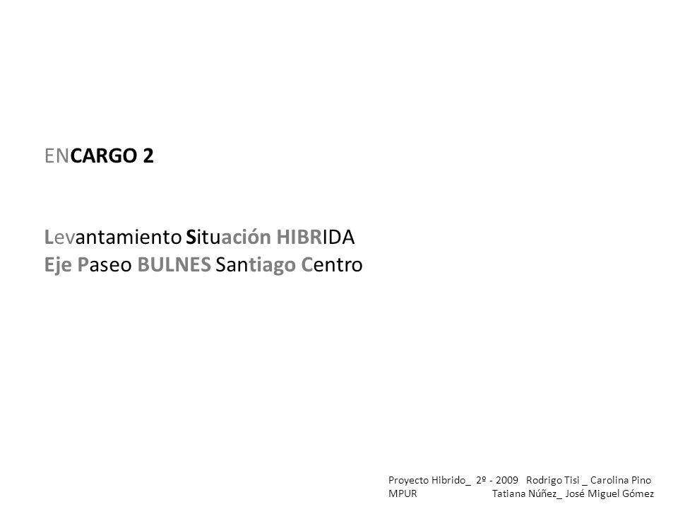 ENCARGO 2 Levantamiento Situación HIBRIDA Eje Paseo BULNES Santiago Centro Proyecto Hibrido_ 2º - 2009 Rodrigo Tisi _ Carolina Pino MPUR Tatiana Núñez