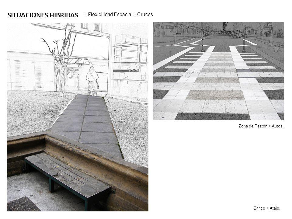 SITUACIONES HIBRIDAS > Flexibilidad Espacial > Cruces Zona de Peatón + Autos. Brinco + Atajo.