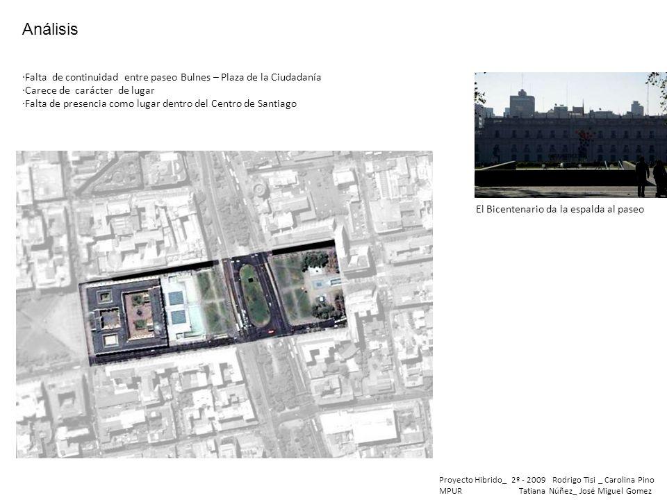 Proyecto Hibrido_ 2º - 2009 Rodrigo Tisi _ Carolina Pino MPUR Tatiana Núñez_ José Miguel Gomez ·Falta de continuidad entre paseo Bulnes – Plaza de la