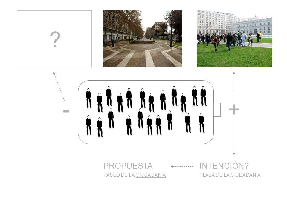 +- PLAZA DE LA CIUDADANÍAPASEO DE LA CIUDADANÍA INTENCIÓN PROPUESTA