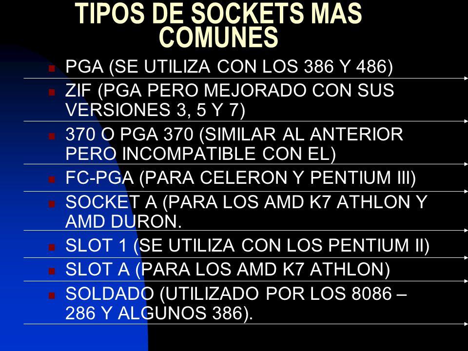 TIPOS DE SOCKETS MAS COMUNES PGA (SE UTILIZA CON LOS 386 Y 486) ZIF (PGA PERO MEJORADO CON SUS VERSIONES 3, 5 Y 7) 370 O PGA 370 (SIMILAR AL ANTERIOR