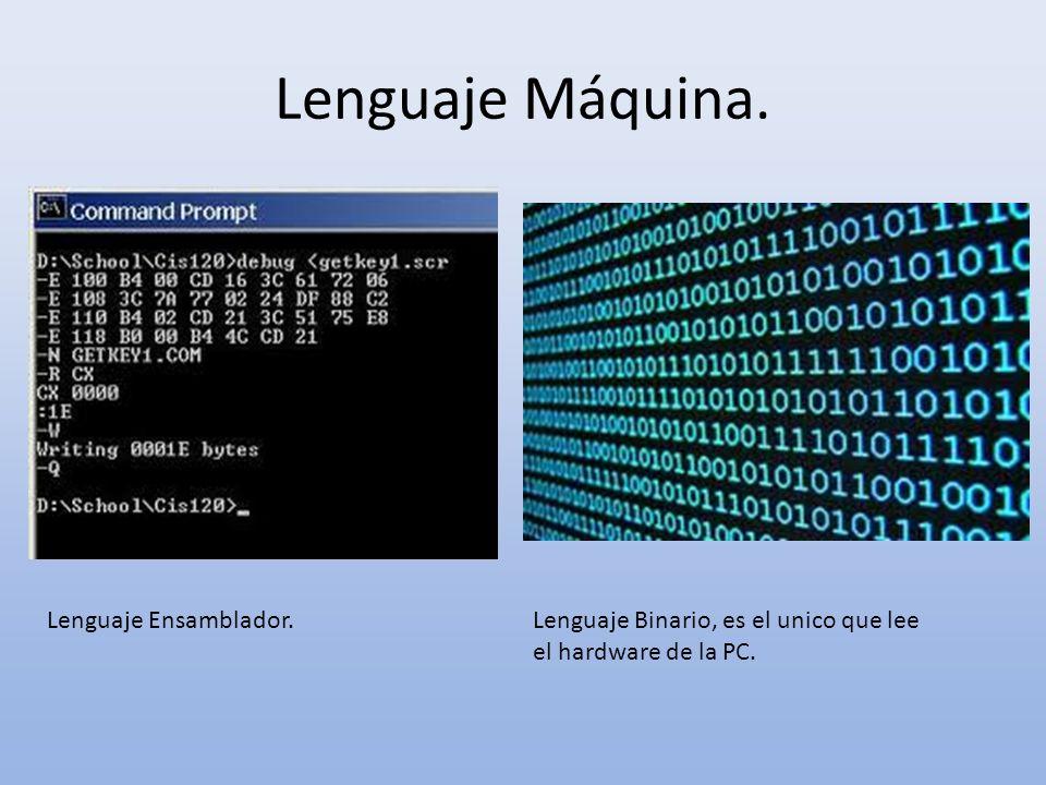 Lenguaje Máquina. Lenguaje Ensamblador.Lenguaje Binario, es el unico que lee el hardware de la PC.