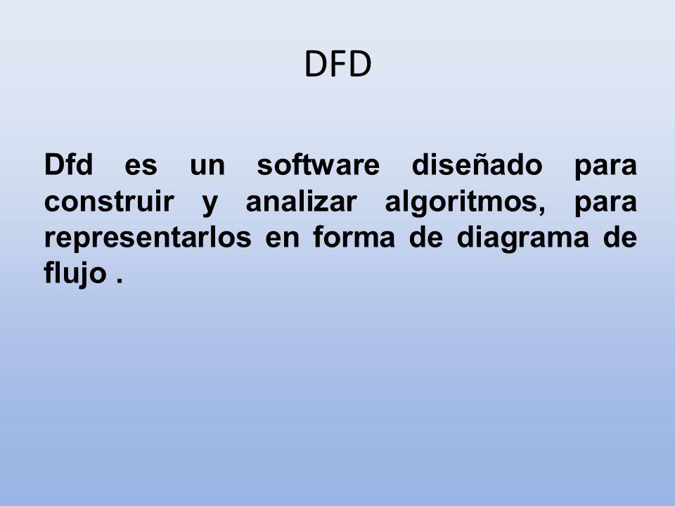 DFD Dfd es un software diseñado para construir y analizar algoritmos, para representarlos en forma de diagrama de flujo.