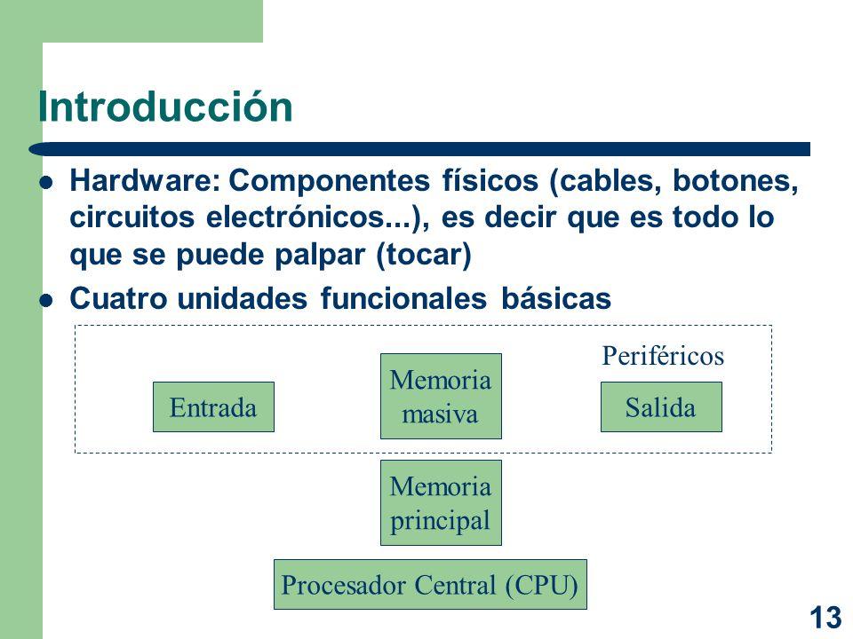13 Introducción Hardware: Componentes físicos (cables, botones, circuitos electrónicos...), es decir que es todo lo que se puede palpar (tocar) Cuatro