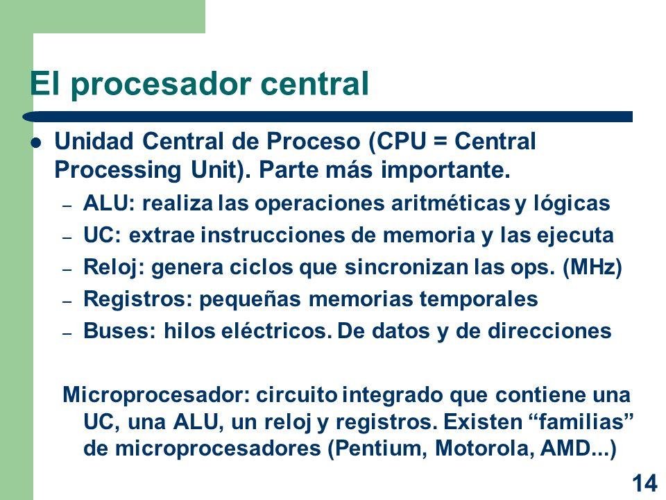 14 El procesador central Unidad Central de Proceso (CPU = Central Processing Unit). Parte más importante. – ALU: realiza las operaciones aritméticas y