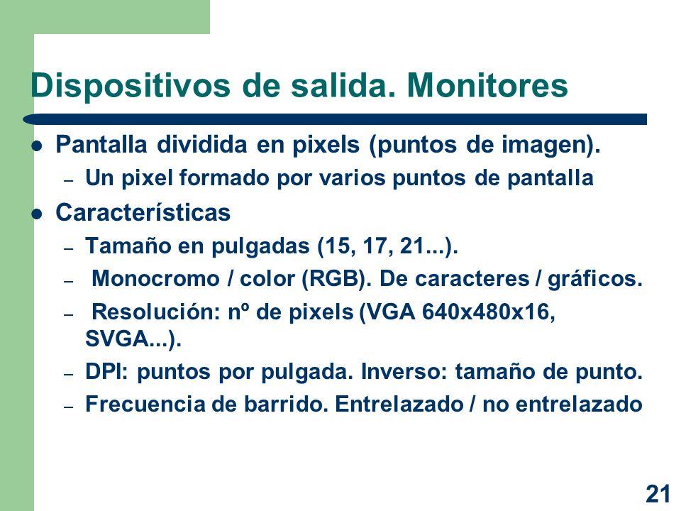 21 Dispositivos de salida. Monitores Pantalla dividida en pixels (puntos de imagen). – Un pixel formado por varios puntos de pantalla Características