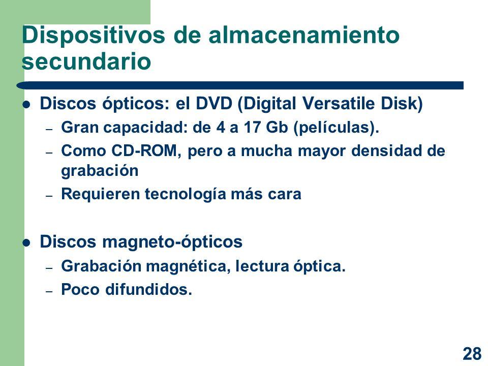 28 Dispositivos de almacenamiento secundario Discos ópticos: el DVD (Digital Versatile Disk) – Gran capacidad: de 4 a 17 Gb (películas). – Como CD-ROM