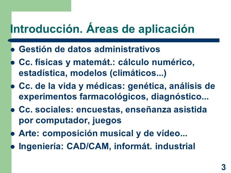 3 Introducción. Áreas de aplicación Gestión de datos administrativos Cc. físicas y matemát.: cálculo numérico, estadística, modelos (climáticos...) Cc