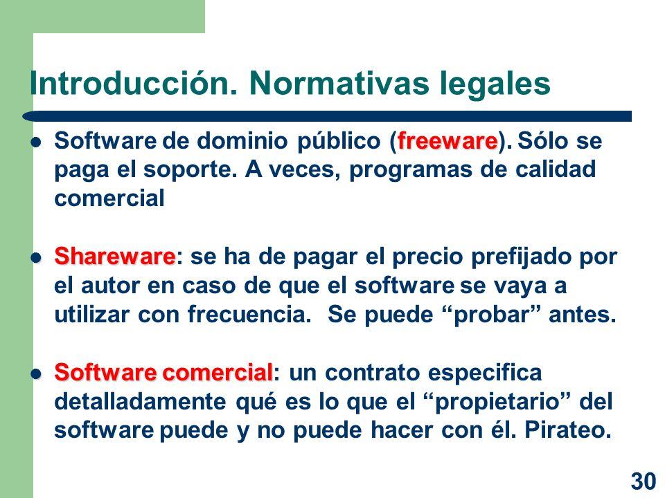 30 Introducción. Normativas legales freeware Software de dominio público (freeware). Sólo se paga el soporte. A veces, programas de calidad comercial