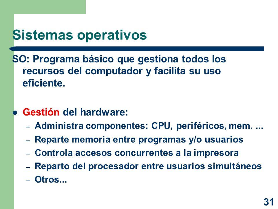 31 Sistemas operativos SO: Programa básico que gestiona todos los recursos del computador y facilita su uso eficiente. Gestión del hardware: – Adminis