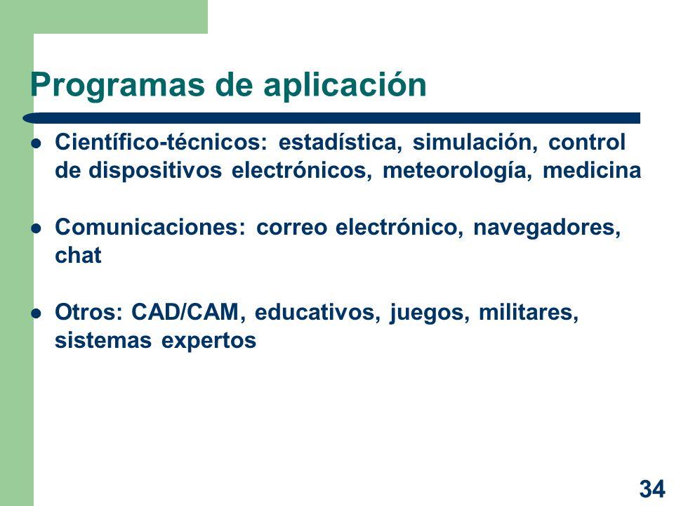 34 Programas de aplicación Científico-técnicos: estadística, simulación, control de dispositivos electrónicos, meteorología, medicina Comunicaciones: