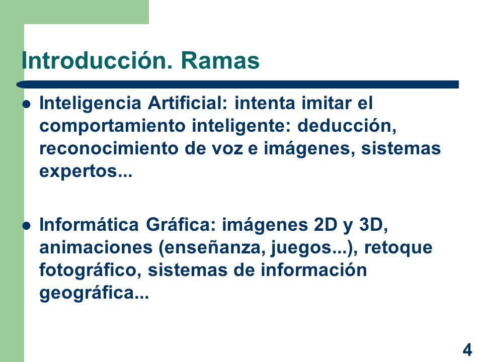 4 Introducción. Ramas Inteligencia Artificial: intenta imitar el comportamiento inteligente: deducción, reconocimiento de voz e imágenes, sistemas exp