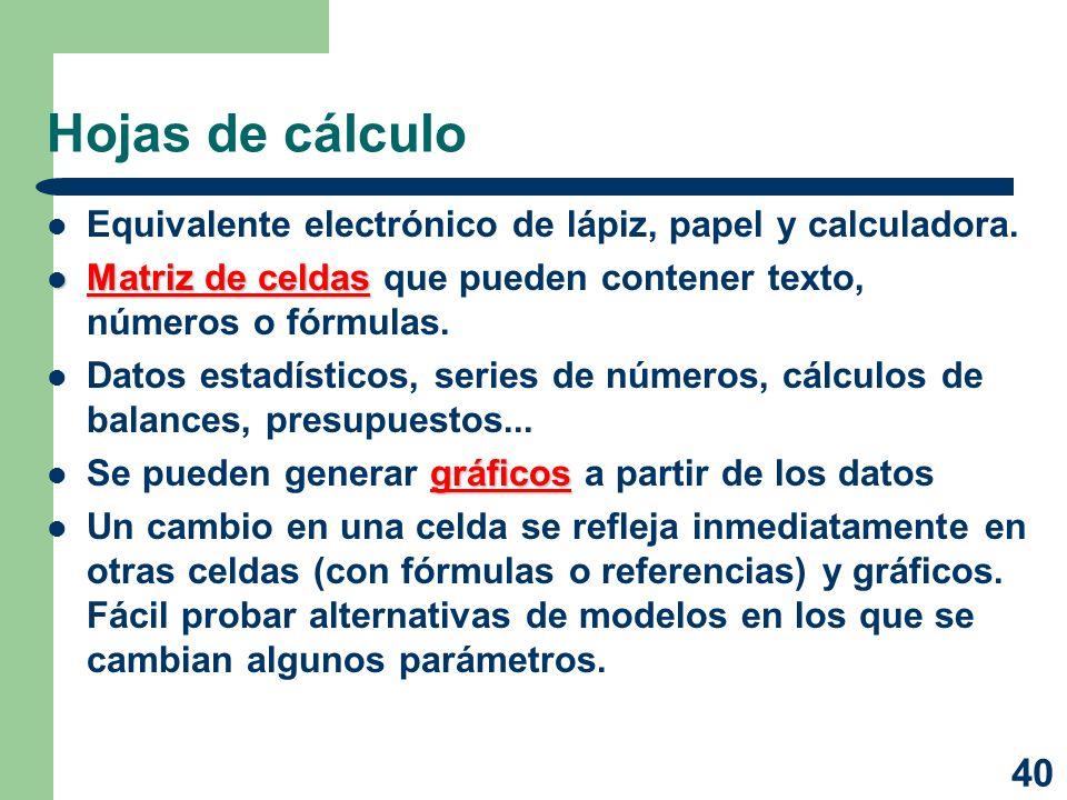 40 Hojas de cálculo Equivalente electrónico de lápiz, papel y calculadora. Matriz de celdas Matriz de celdas que pueden contener texto, números o fórm