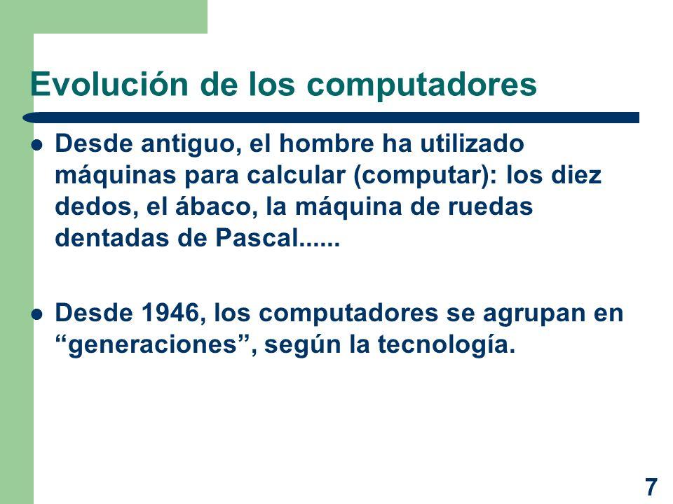 7 Evolución de los computadores Desde antiguo, el hombre ha utilizado máquinas para calcular (computar): los diez dedos, el ábaco, la máquina de rueda