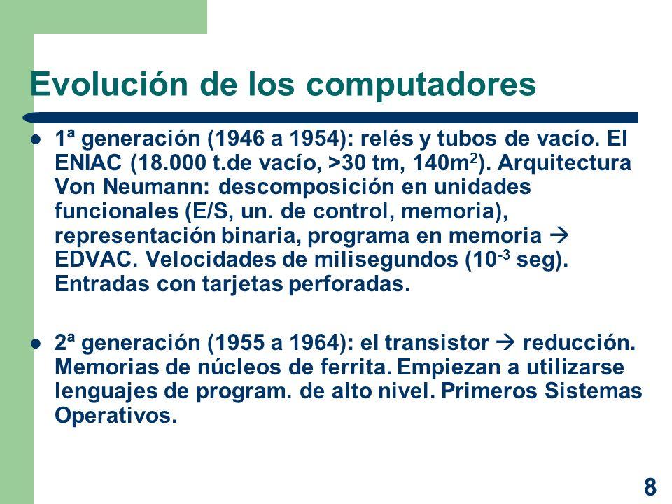 8 Evolución de los computadores 1ª generación (1946 a 1954): relés y tubos de vacío. El ENIAC (18.000 t.de vacío, >30 tm, 140m 2 ). Arquitectura Von N