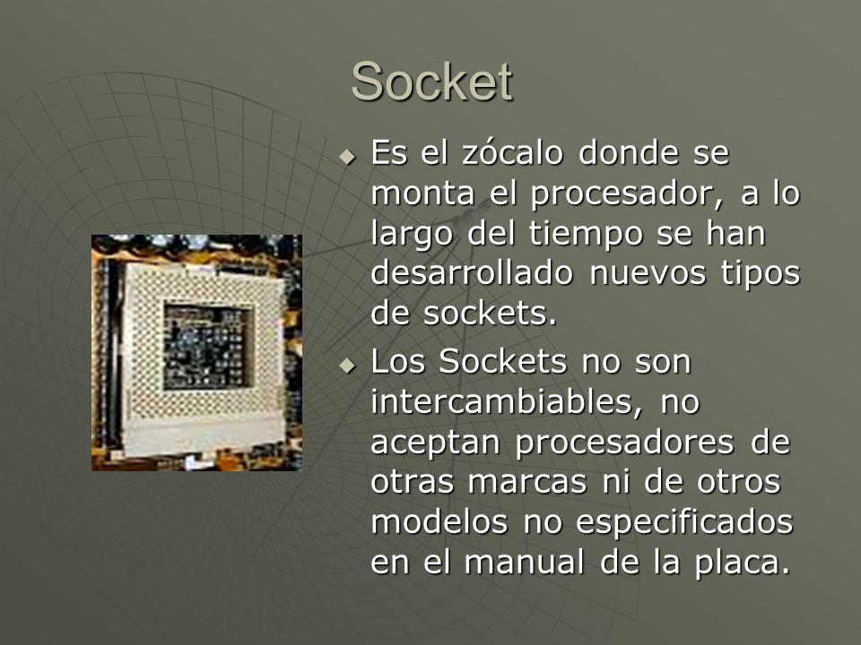 Socket Es el zócalo donde se monta el procesador, a lo largo del tiempo se han desarrollado nuevos tipos de sockets. Es el zócalo donde se monta el pr