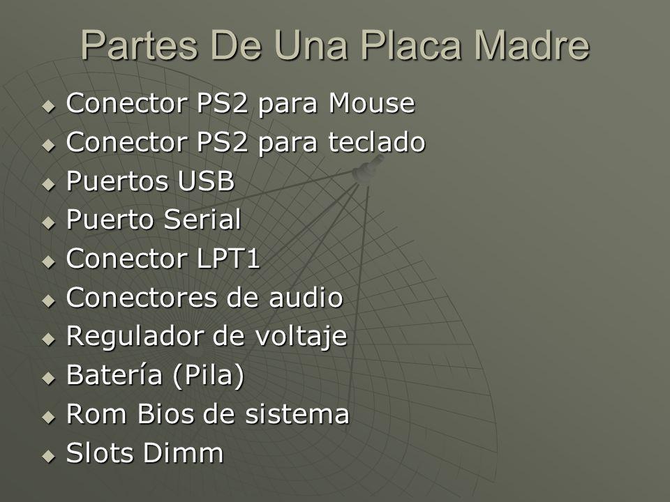Partes De Una Placa Madre Conector PS2 para Mouse Conector PS2 para Mouse Conector PS2 para teclado Conector PS2 para teclado Puertos USB Puertos USB