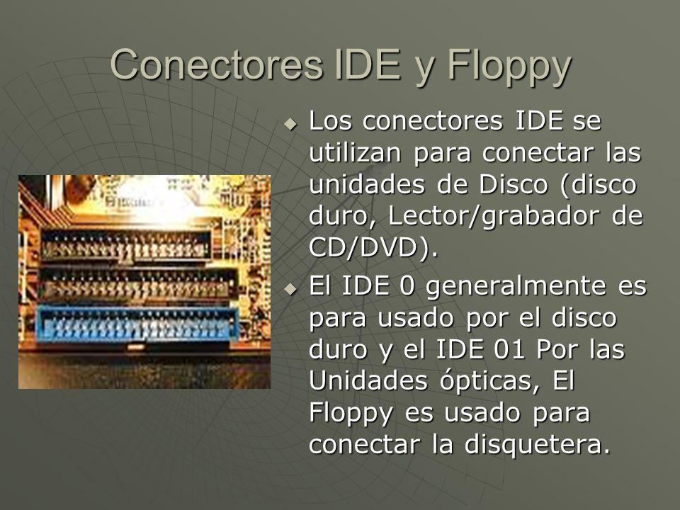Conectores IDE y Floppy Los conectores IDE se utilizan para conectar las unidades de Disco (disco duro, Lector/grabador de CD/DVD). Los conectores IDE