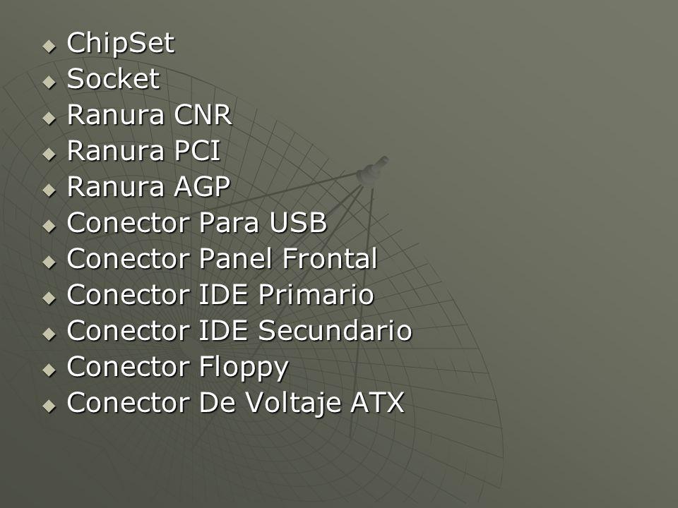 ChipSet ChipSet Socket Socket Ranura CNR Ranura CNR Ranura PCI Ranura PCI Ranura AGP Ranura AGP Conector Para USB Conector Para USB Conector Panel Fro